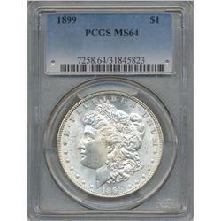 1899 $1 Morgan Silver Dollar Coin PCGS MS64