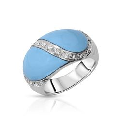 14KT White Gold 4.05ctw Turquoise and Diamond Ring
