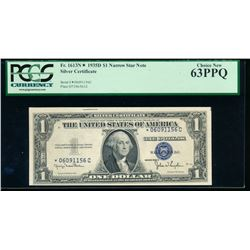 1935D $1 Silver Certificate Star Note PCGS 63PPQ