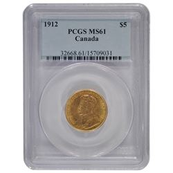1912 $5 Canada Gold Coin PCGS MS61