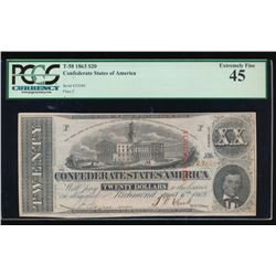 1863 $20 Confederate States of America Note PCGS 45