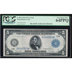 1914 $5 New York Federal Reserve Note PCGS 64PPQ