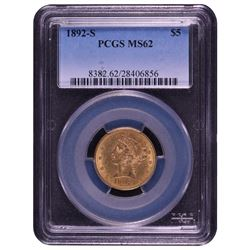 1892-S $5 Liberty Head Half Eagle Gold Coin PCGS MS62