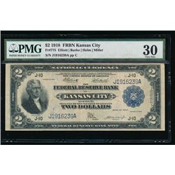 1918 $2 Kansas City Federal Reserve Bank Note PMG 30