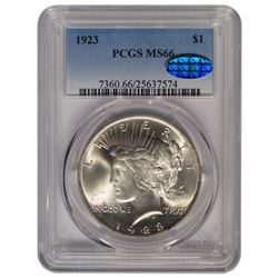 1923 $1 Peace Silver Dollar Coin PCGS MS66 CAC