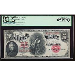 1907 $5 Legal Tender Note PCGS 65PPQ