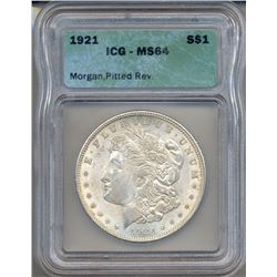 1921 $1 Morgan Silver Dollar Coin ICG MS64