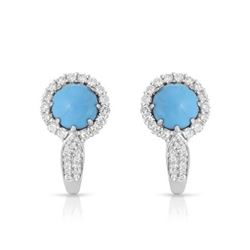 14KT White Gold 1.96ctw Turquoise and Diamond Earrings