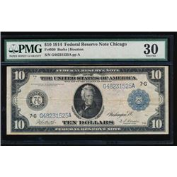 1914 $10 Chicago Federal Reserve Note PMG 30