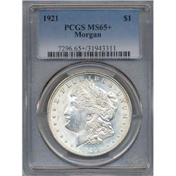 1921 $1 Morgan Silver Dollar Coin PCGS MS65+