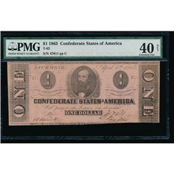 1863 $1 Confederate States of America Note PMG 40NET