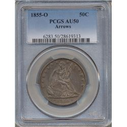 1855-O Arrows Liberty Seated Half Dollar Coin PCGS AU50