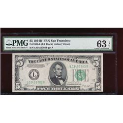 1934B $5 San Francisco Federal Reserve Note PMG 63EPQ