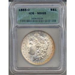 1885-O $1 Morgan Silver Dollar Coin ICG MS65