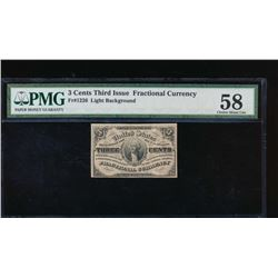 3 Cent Third Issue Fractional Note PMG 58