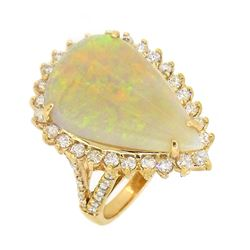 14KT Yellow Gold 7.70ct Opal and Diamond Ring