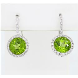 14KT White Gold 5.96ctw Peridot and Diamond Earrings