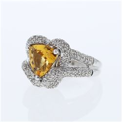 14KT White Gold 2.81ct Citrine and Diamond Ring