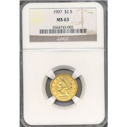 1907 $2.5 Indian Head Quarter Eagle Gold Coin NGC MS63