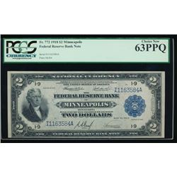 1918 $2 Minneapolis Federal Reserve Bank Note PCGS 63PPQ