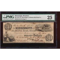 1837 $20 Mississippi and Alabama Obsolete Note PMG 25