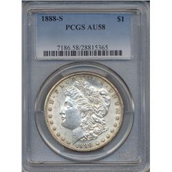 1888-S $1 Morgan Silver Dollar Coin PCGS AU58
