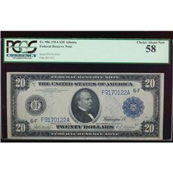 1914 $20 Atlanta Federal Reserve Note PCGS 58