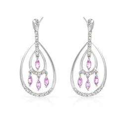 14KT White Gold 0.91ctw Pink Sapphire and Diamond Earrings