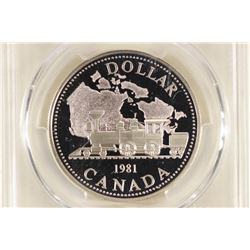 1981 CANADA TRANS-CAN SILVER DOLLAR PCGS PR69 DCAM