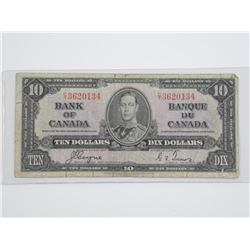Bank of Canada 1937 - Ten Dollar Note. C/T
