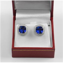 925 Sterling Silver Earring, Cushion Cut Sapphire