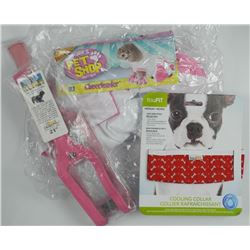 "Lot (3) Dog Accessories - 21"" Collar, Large Pink"