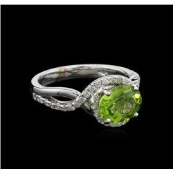 1.82 ctw Peridot and Diamond Ring - 14KT White Gold