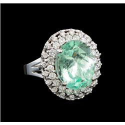 GIA Cert 9.25 ctw Emerald and Diamond Ring - 14KT White Gold