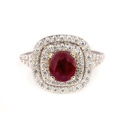1.60 ctw Ruby and Diamond Ring - 14KT Two-Tone Gold
