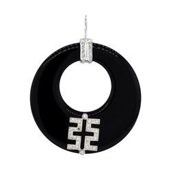 0.25 ctw Diamond and Onyx Pendant - 18KT White Gold