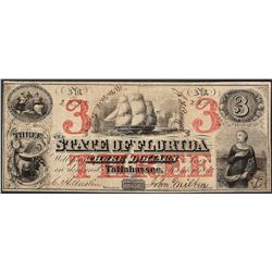 1863 $3 The State of Florida Obsolete Note