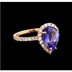 14KT Rose Gold 2.77 ctw Tanzanite and Diamond Ring