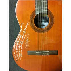 George Harrison Hand Written Lyrics Signed Acoustic Guitar