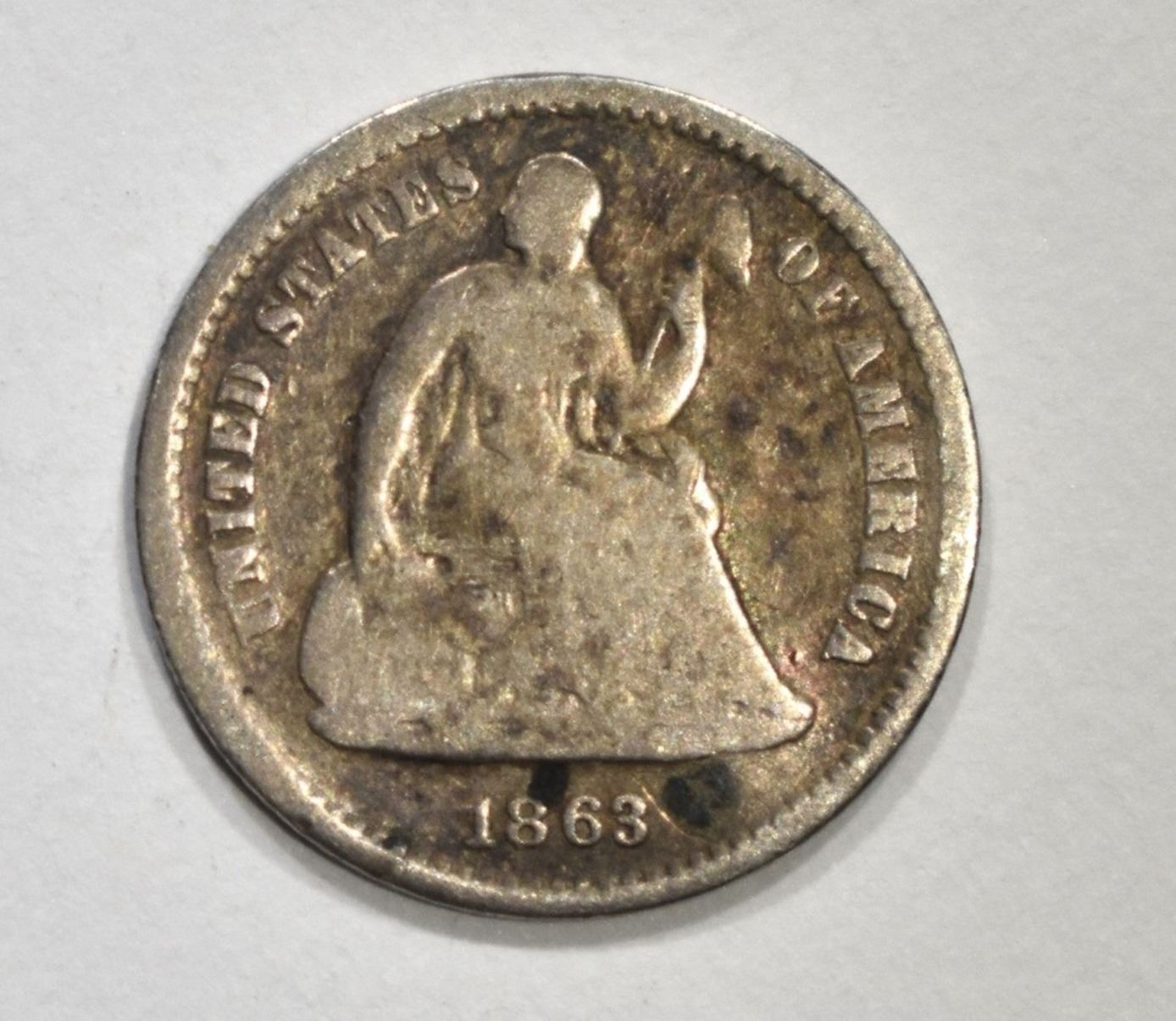 Image 1 1863 S Seated Half Dime Vg