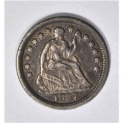 1857-O SEATED HALF DIME, XF/AU