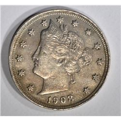 1908 LIBERTY NICKEL, XF/AU