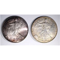 2 - 1996 AMERICAN SILVER EAGLES  CH BU SOME TONING