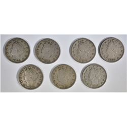 """7-LIBERTY """"V"""" NICKELS, ALL FINE OR VF"""