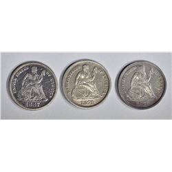 1871, 78 & 87-S SEATED  DIMES, XF