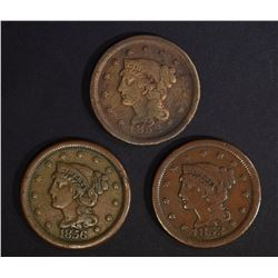 1852, 53 & 56 LARGE CENTS ALL VG
