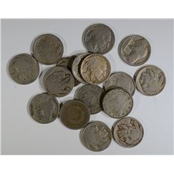 MIXED NICKEL LOT, LIBERTY AND BUFFALO