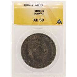 1883 $1 Kingdom of Hawaii Dollar Coin ANACS AU50