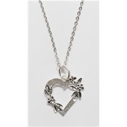 Sterling Silver Heart Shaped Pendant Necklace - Retail $120