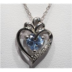 Sterling Silver Stimulated Aquamarine Heart Shaped Pendant Necklace - Retail $250